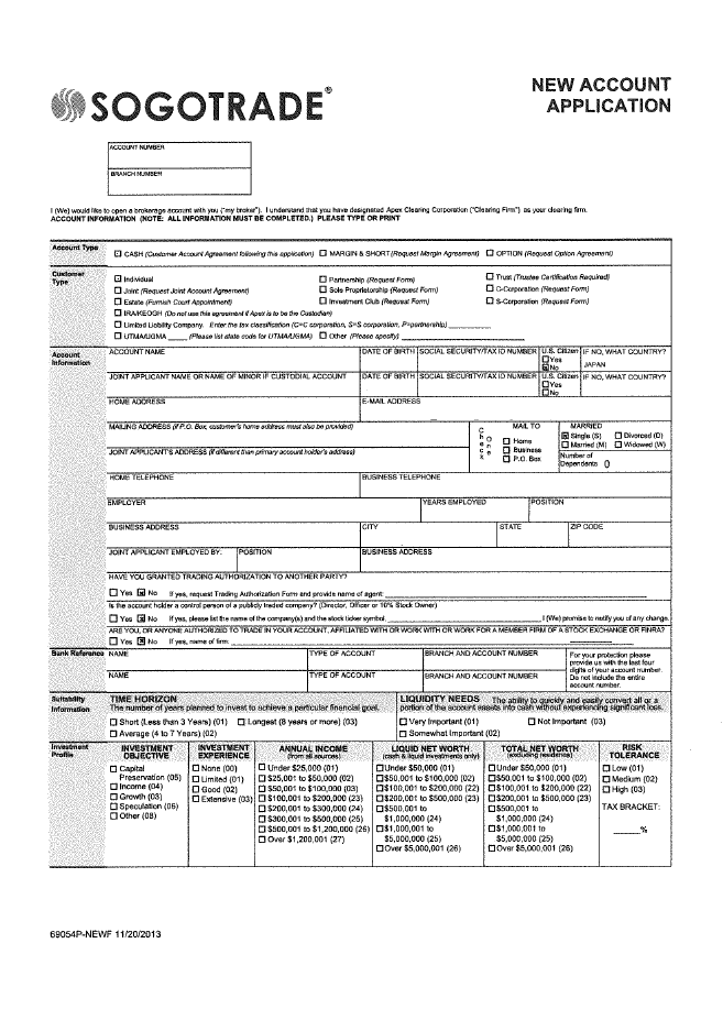 Application form of SogoTrade1
